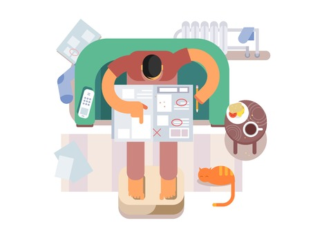 reads: Unemployed looking for a job in the newspaper. Search or find, work, flat vector illustration Illustration