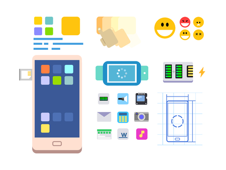 phone button: Developing a mobile app and layout. Web technology, interface phone, ui button and menu, flat vector illustration Illustration