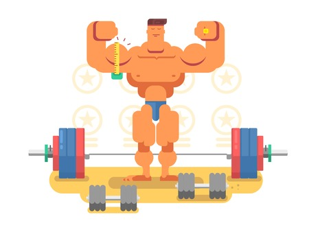 deportes caricatura: carácter del hombre de culturista. Músculo fuerte. ilustración vectorial plana