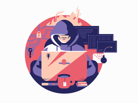 shadowing: Hacker in shadowing. Criminal internet anonymous, security data, vector illustration