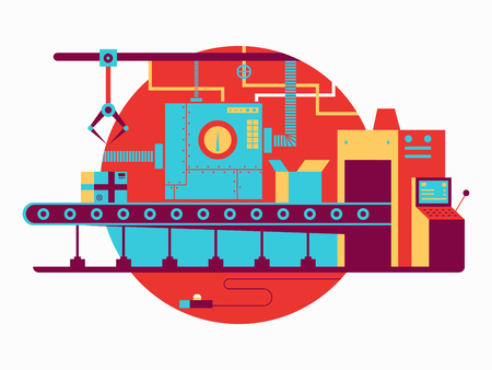 industry design: Conveyor design flat. Industry production machine on factory, vector illustration
