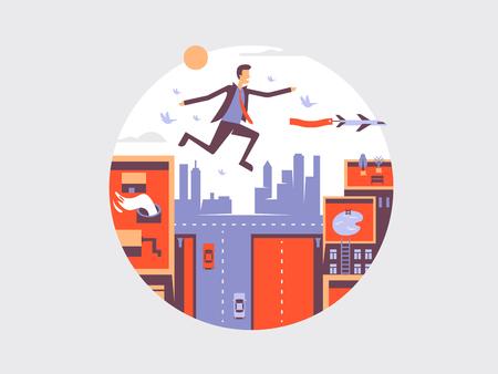 man in air: Man fly design flat. Business guy flying in air, vector illustration Illustration