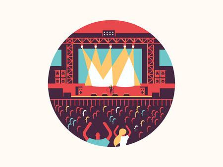 콘서트 디자인 평면. 록 음악 축제, 공연 및 파티, 벡터 일러스트 레이 션