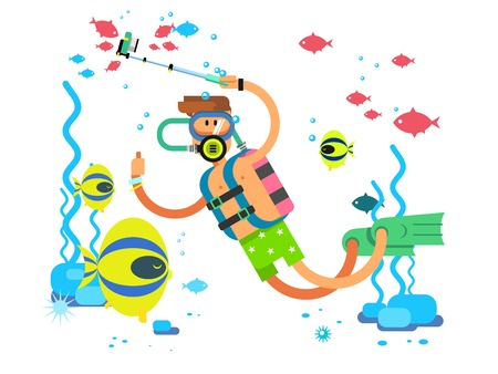 man underwater: Diver character. Underwater man diving with equipment, flat vector illustration