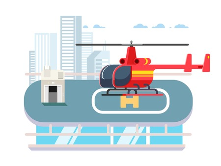 rooftop: Helicopter on roof with man. Transportation aviation, helipad rooftop, flat vector illustration