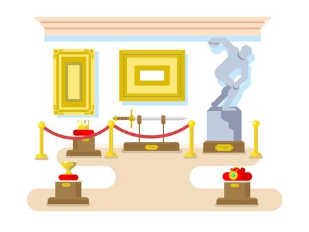 historical: Museum flat design. Exhibition sculpture artifact sword picture crown, vector illustration