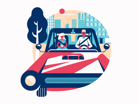 car driver: Driver driving a car. Control of vehicle. Vector flat illustration