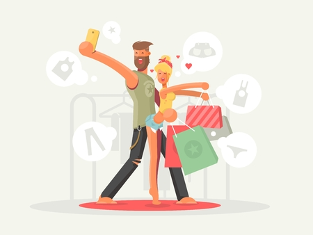 Boy and girl with shopping bags. Happy young people. Vector illustration