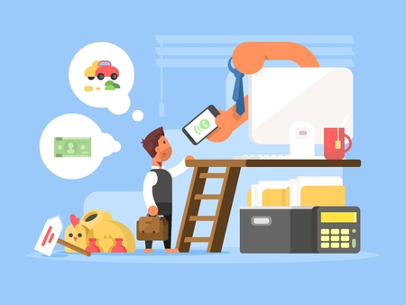 Career flat concept. Business person at beginning of ladder to success. Vector illustration Stock Photo