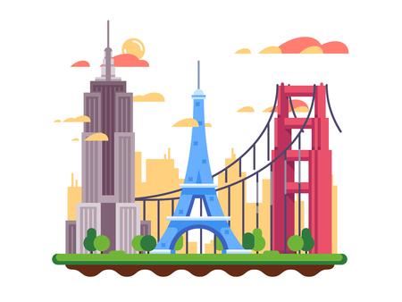 verjas: lugares de interés turístico de diseño plana. Torre Eiffel y el puente Golden Gate. ilustración vectorial