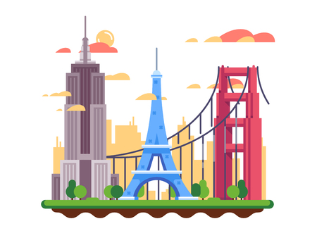 Famous landmarks flat design. Eiffel tower and Golden Gate Bridge. Vector illustration Illustration