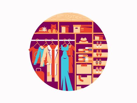 rack: Wardrobe flat design. Fashionable women dresses and shoes. Vector illustration
