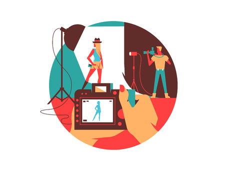 fashion shoot: Photographing in studio. Model photo shooting, occupation photographer. Vector illustration