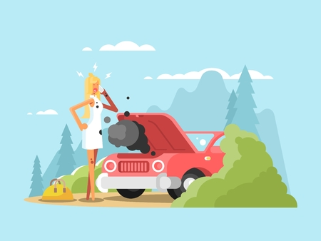 Blonde and broken car. Young woman driver on road, vector illustration