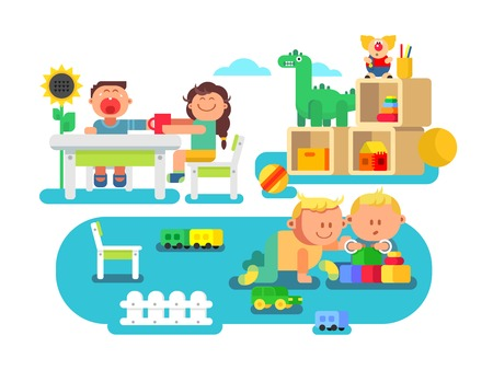 Kindergarten flat design. Child cartoon, preschool boy and girl, vector illustration Illustration