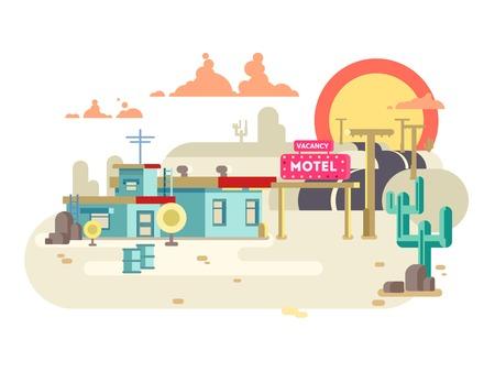 motel: Motel flat design. Vacancy hotel, building architecture, vector illustration