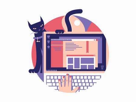 Browser design flat. Laptop with window open web page. Vector illustration