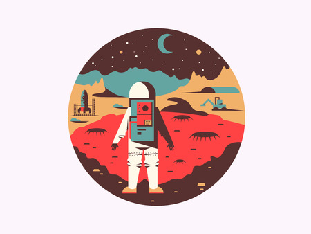 unknown: Man in space on unknown planet. Cosmonaut travel in galaxy, vector illustration