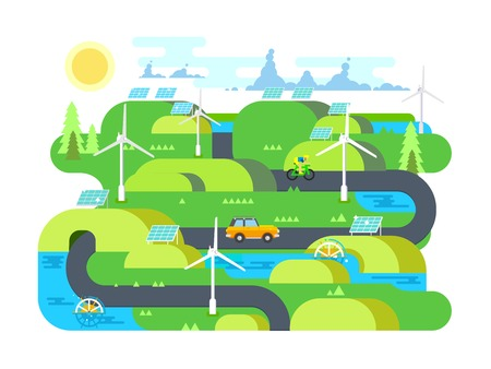 natural energy: Green energy flat design. Ecology, and environment, water and natural resource. Flat vector illustration