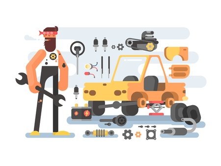 service: Auto detailing machine workroom. Automobile service with mechanic. Vector illustration