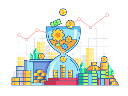 capitalization: Time is money flat concept. Capitalization and earnings finances. Vector illustration