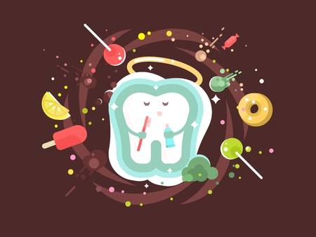 dental health: Tooth abstract design flat. Protection and care of dental health. Vector illustration Illustration
