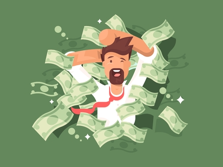 Man in a pile of money. Success businessman rich, vector illustration Vectores