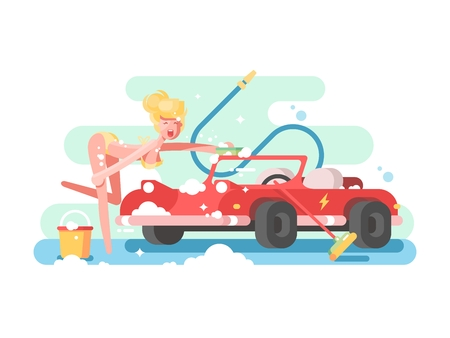 sexy young woman: Sexy girl washing a car. Attractive young woman in foam, vector illustration Illustration