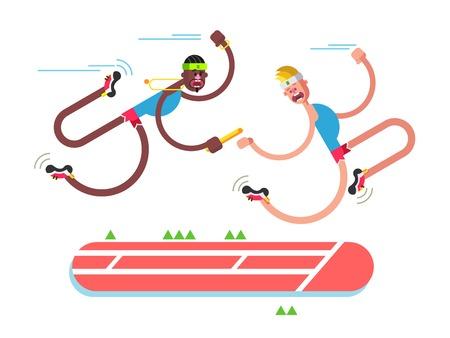 carrera de relevos: Relevo diseño atletismo. Competencia y corredor, acción velocidad por equipos, ilustración vectorial plana