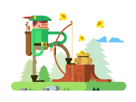 knightly: Character of Robin Hood. Arrow and bow, archer hero man, flat vector illustration