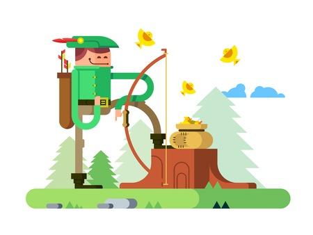 Character of Robin Hood. Arrow and bow, archer hero man, flat vector illustration