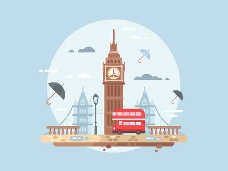 illustation: London city flat. Big ben tower and british bus, vector illustation