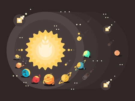 flat earth: Solar system flat design. Sun with set of planets earth saturn and jupiter, vector illustration