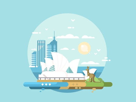 Sydney city flat design. Modern opera house and kangaroo. Vector illustration Vettoriali