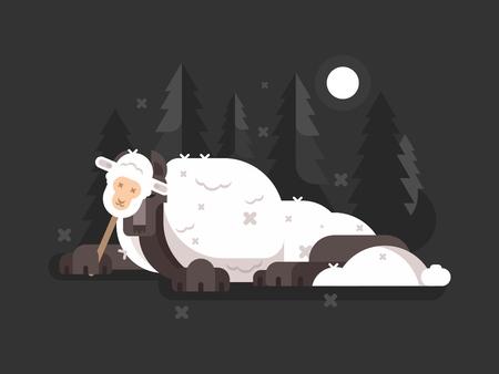 Wolf in schaapskleren. Sluwe roofdier op jacht. vector illustratie