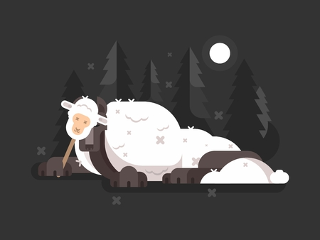 Wolf in sheeps clothing. Cunning predator on hunt. Vector illustration Иллюстрация
