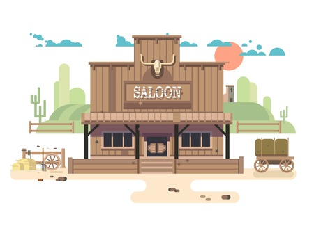 western town: Wild west saloon. Cowboy and western, old building town, sheriff vector illustration Illustration