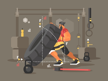 Crossfit workout flat. Strong and power man lifts tire. Vector illustration Vettoriali