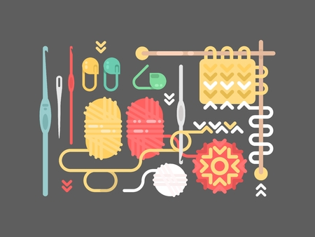 knit: Knitting objects set. Yarn, pins, buttons needle vector illustration