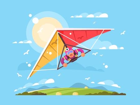 Man op deltavliegen extreme sport schreeuwen vector illustratie