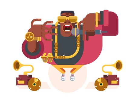hiphop: Black rapper character. Person african, music and guy with microphone, singer hip-hop, vector illustration
