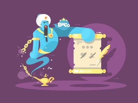Genio de la lámpara que ofrece 3 deseos para elegir. Ilustración del vector.