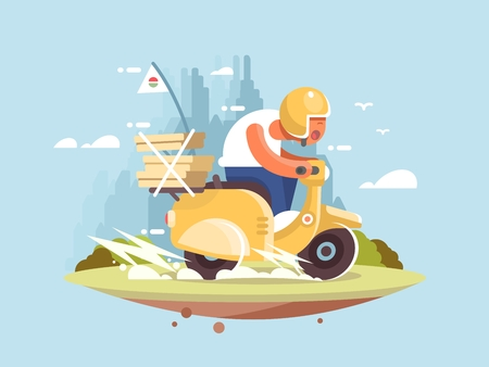 Pizza delivery man on a scooter driving fast vector illustration Illustration