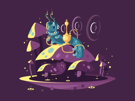 Absolem character, fantasy caterpillar, Hookah with Smoke and Mushrooms. Alice In Wonderland vintage concept. vector illustration. Vettoriali