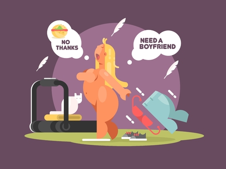 weight loss: Fat lady refuses to eat food for weight loss. Vector illustration Illustration