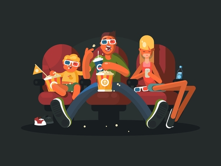 Family in the cinema watching movie. Vector illustration. Cartoon character. 3D glasses