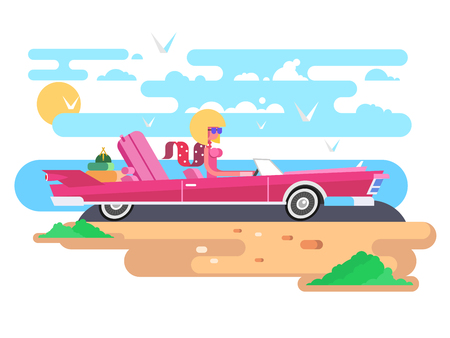 Blonde in a cabriolet on vacation. Woman in car, driver auto, girl in sunglasses, vector illustration