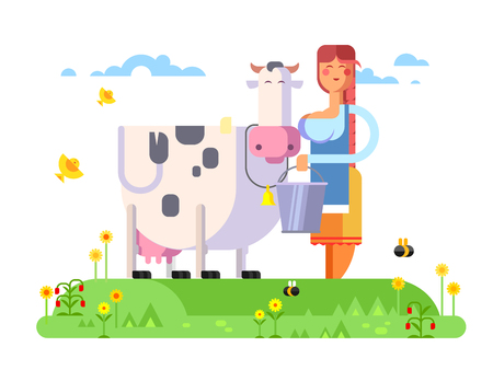 milker: Cartoon character cow and milkmaid, flat vector illustration. Illustration