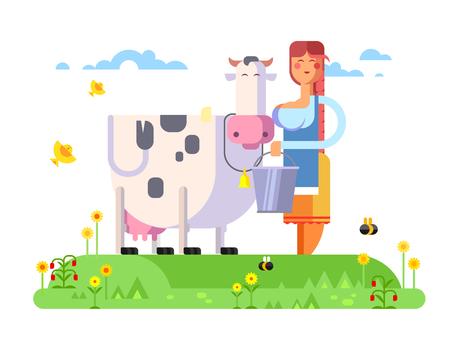 Cartoon character cow and milkmaid, flat vector illustration. Illustration