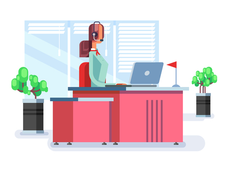 support agent: Operator in a call center. Support communication service, phone agent woman. Vector illustration Illustration